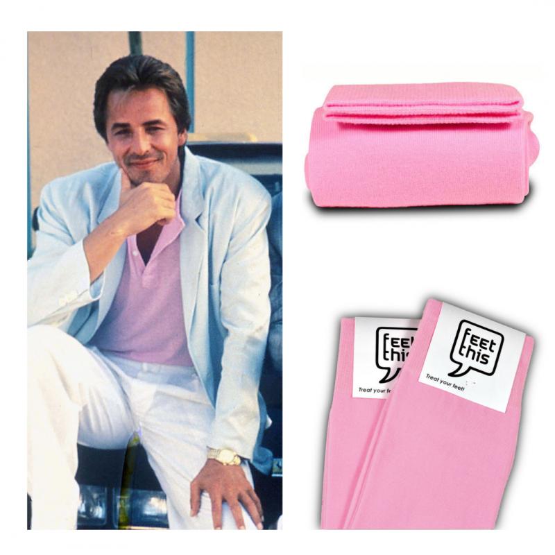 Don Johnson zoet roze sokken
