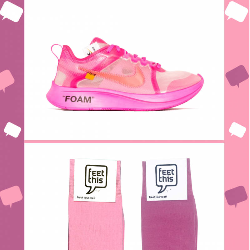 Nike zoom fly off white pink met roze sok
